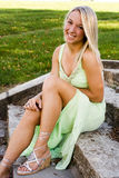 Blonde fashion model. Young blonde fashion model in casual clothing Stock Photo