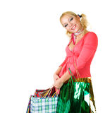 Blonde fashion model at shopping Stock Image