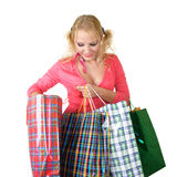 Blonde fashion model at shopping Royalty Free Stock Images