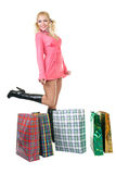 Blonde fashion model at shopping Stock Images
