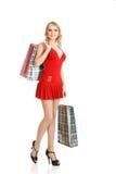 Blonde fashion model at shopping Stock Photos