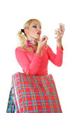 Blonde fashion model at shopping Stock Photo