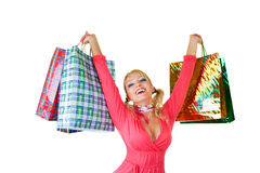 Blonde fashion model at shopping Royalty Free Stock Photos