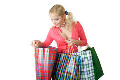 Blonde fashion model at shopping Royalty Free Stock Photography