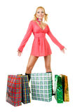 Blonde fashion model at shopping Royalty Free Stock Photo