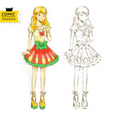 Blonde fashion model.(vector). Illustration of a fashion model in a cartoon(Japanese comics - manga) style Stock Photo