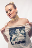 Blonde fashion shoot. Blonde girl fashion shoot Pablo Escobar shirt Stock Photo