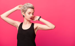 Blonde with fashionable Hairstyle Stock Image