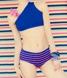 Blonde in fashionable sports swimsuit. Stock Photography