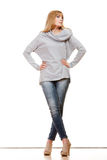 Blonde fashionable woman in full length Royalty Free Stock Photography
