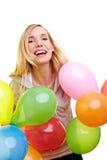 Blonde feiernde Frau Stockbilder