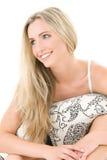 Blonde feliz con la almohadilla Imágenes de archivo libres de regalías