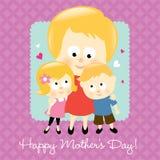 Blonde feliz del día de madre stock de ilustración