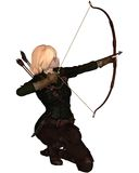 Blonde Female Archer Kneeling. Blonde female archer with bow and arrow taking a kneeling shot, 3d digitally rendered illustration Stock Image