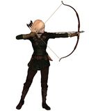 Blonde Female Archer Standing. Blonde female archer with bow and arrow taking a standing shot, 3d digitally rendered illustration Stock Images