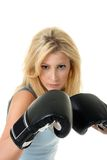 Blonde Female Boxing Stock Image