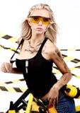 Blonde female construction worker. Sexy blonde female construction worker Stock Images
