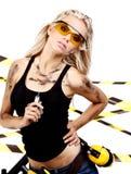 Blonde female construction worker. Sexy blonde female construction worker Royalty Free Stock Photos