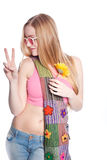 Blonde female holding up peace sign Stock Photography