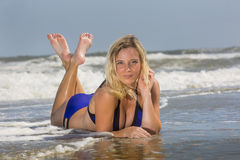 Blonde Female Model At The Beach Stock Image