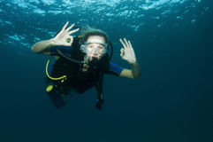 Blonde female scuba diver Royalty Free Stock Photos
