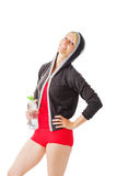 Blonde female in sports wear holding a bottle of water Royalty Free Stock Photography