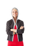 Blonde female in sports wear looking straight to the camera Royalty Free Stock Image