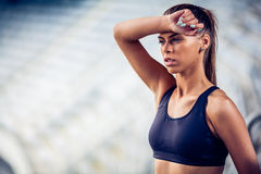 Blonde Fitness Woman on stadium Royalty Free Stock Photo