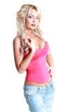 Blonde Frau über Weiß Lizenzfreie Stockfotos