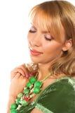 Blonde Frau über weißem Hintergrund Lizenzfreie Stockbilder