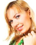 Blonde Frau über weißem Hintergrund Stockbilder