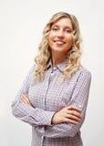 Blonde Frau in überprüftem Hemd Stockfotografie