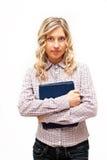 Blonde Frau in überprüftem Hemd Lizenzfreie Stockfotos