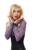 Blonde Frau überrascht Lizenzfreie Stockfotografie