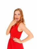 Blonde Frau überrascht Stockfotografie
