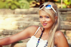 Blonde Frau Stockbild