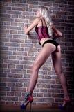 Blonde Frau auf einem Wandziegelsteinhintergrund Lizenzfreie Stockfotos