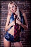 Blonde Frau auf einem Wandziegelsteinhintergrund Lizenzfreies Stockbild
