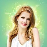Blonde Frau auf grüner Collage Lizenzfreie Stockbilder