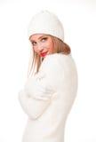 Blonde Frau auf Wintermode Stockbild