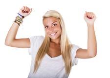Blonde Frau bewaffnet oben Lizenzfreie Stockbilder