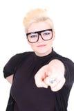 Blonde Frau in den schwarzen Gläsern Lizenzfreies Stockfoto