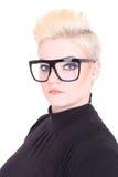 Blonde Frau in den schwarzen Gläsern Stockfoto