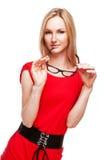 Blonde Frau in der Büroart Stockfoto