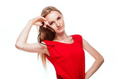 Blonde Frau in der Büroart Stockbild