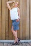 Blonde Frau in der Bluse, im Rock und in den Schuhen draußen Stockbild