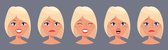 Blonde Frau der Junge recht, nette Gesichter mit verschiedenen Gefühlen Schönes Mädchen der Karikatur Stockfotografie