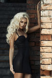Blonde Frau der Mode über Backsteinmauer Stockfoto