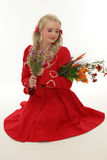 Blonde Frau der Schönheit im roten Kleid Stockbilder