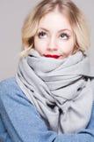 Blonde Frau in der warmen Kleidung Lizenzfreie Stockfotos